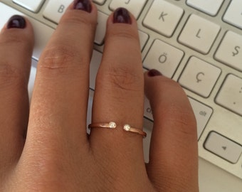 Dual Birthstone Ring / His and Her Birthstone Ring / Two Birthstone Ring / Rose Gold Birthstone Ring / Birthstone Ring