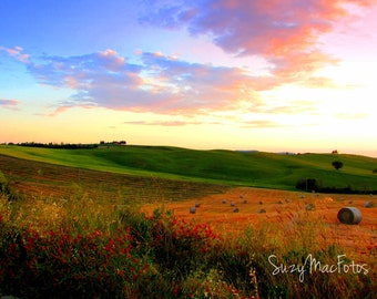 Sunset Over the Fields of Val D'Orcia