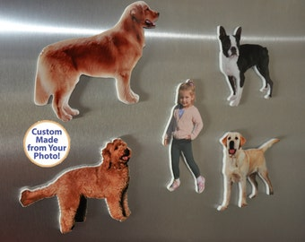 Custom Refrigerator Magnet Photo Sculpture Cutout from your Dog, Cat, Child Photo