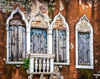 Venice Italy, Venice Gothic Windows, Four Weathered Windows, Venice Travel, Venice Wall Decor, Textured Red Building, Balcony,  Wall Art