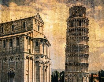 Pisa Italy, Leaning Tower Of Pisa Photo, Italy Landmark, Sepia Textured, Italy Travel, Wall Art, Fine Art Photo, Art Print, Famous Spot