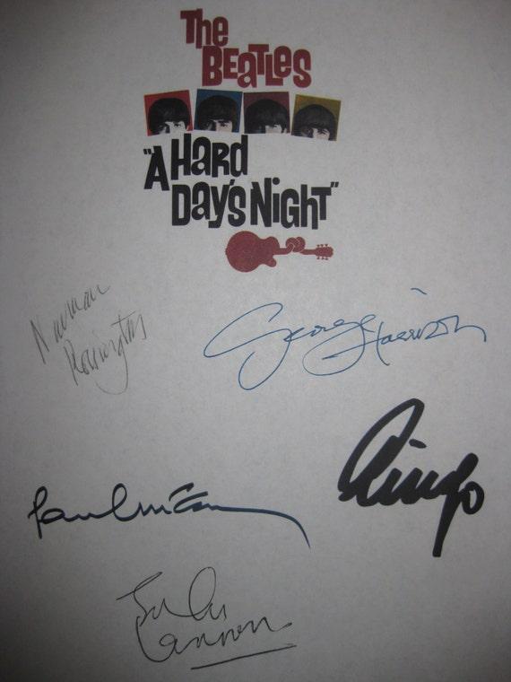 The Beatles A Hard Days Night Signed Film Movie Screenplay Script John Lennon Paul McCartney George Harrison Ringo Starr Norman Rossington