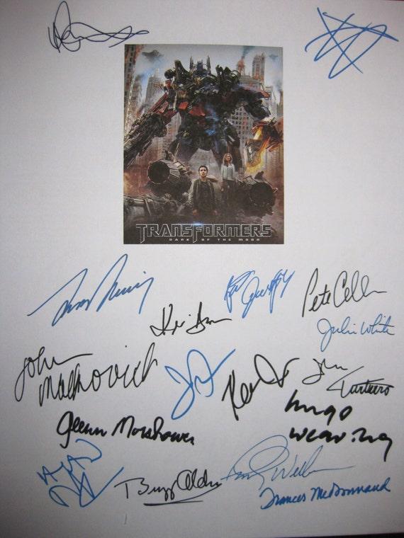 Transformers 3 Dark Moon Signed Screenplay Script X17 Autograph Shia Labeouf Josh Duhamel John TurturroJohn Malkovich Leonard Nimoy Dempsey