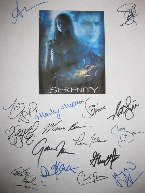 Serenity Signed Movie Film Screenplay Script X16 Nathan Fillion Summer Glau Gina Torres Ron Glass Sean Maher Adam Baldwin Joss Whedon Tudyk
