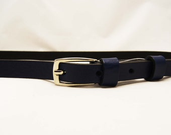 Navy blue retro belt, leather belt, rectangular buckle, square buckle, 1 cm