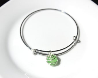 Bangle Frosted Bead Bracelet (Various Color Options)