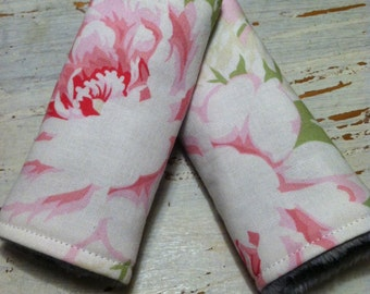 Reversible Car Seat/Stroller Strap Covers/ Baby Girl/ Shabby Chic Pink Floral