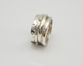 Hand Made Sterling silver Stacking rings with 9ct gold trims