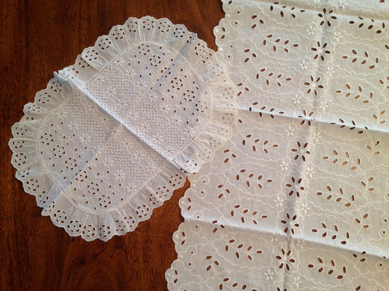 vintage eyelet lace dresser scarves 1950s