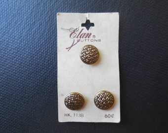 Vintage Elan buttons - round, brass toned, basket weave design, carded buttons