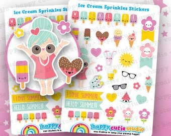 30 Cute Ice Cream Sprinkles/Summer Planner Stickers, Filofax, Erin Condren, Happy Planner,  Kawaii, Cute Sticker, UK