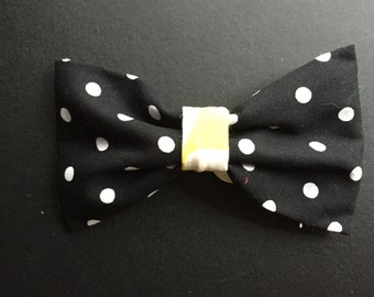 Black & Yellow Bow on French Barrette