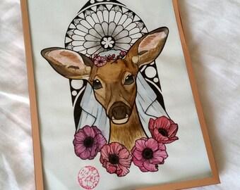 "Original Watercolour ""The bride"", framed"