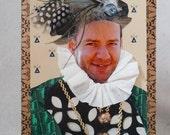 Birthday portrait as a Greeting card - personalised, unusual, fun, unique, 3D, birthday gift. TUDOR style. 7x5 inch