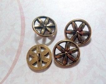 Gold Metal Flower Wheel Shank Buttons 15mm Set of 4 Destash Lot - Inv #13