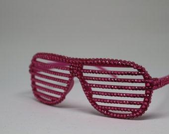 Pink rhinestone shutter shades sun glasses