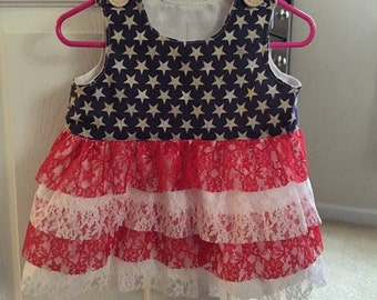 girl flag lace dress 4th of July dress