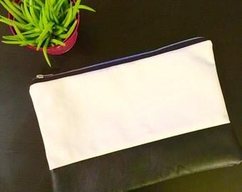 Modern Black & White Colorblock Clutch - Vegan Leather