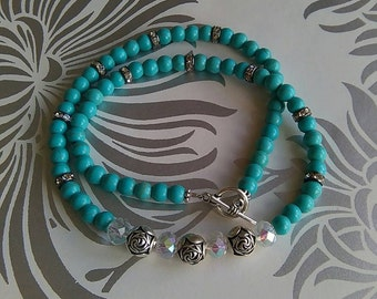 Turquoise Howlite & Crystal Necklace
