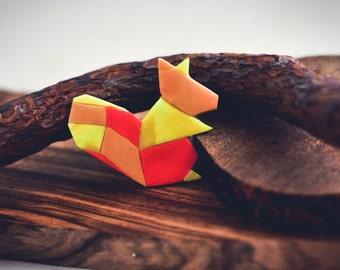 Origami Geometric squirrel Brooch