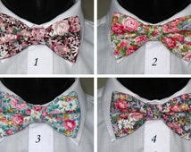 Men's Pre-tied Cotton Bow Tie. Flower designs Bowtie.