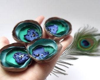 Peacock Wedding Flowers(10pcs),Flower Peacock Feather,wholesale Peacock  Appliques,peacock