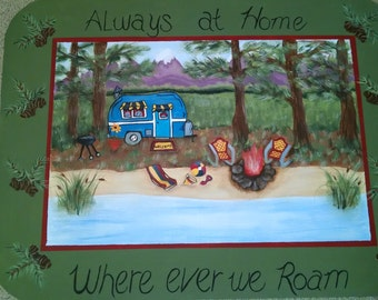 where ever we roam custom floorcloth