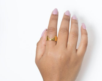 Halis ring - gold band ring - chunky stack ring - commitment ring - unusual wedding ring - African jewellery