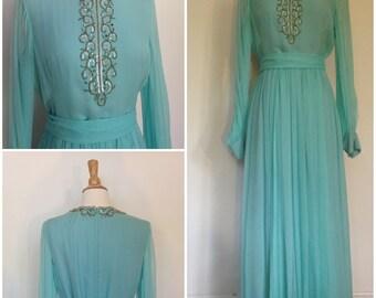 1960s/1970s Turquoise Soirée dress