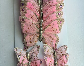 Pink Glittered Butterfly Set FREE SHIPPING to US