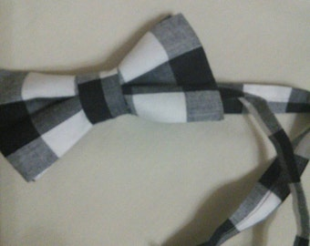 Black and white check Bowtie