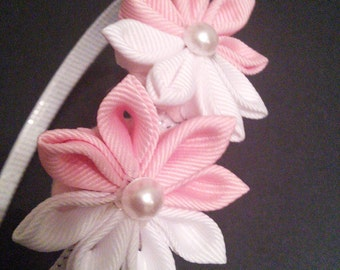 Pink and White Kanzashi Flower hairband