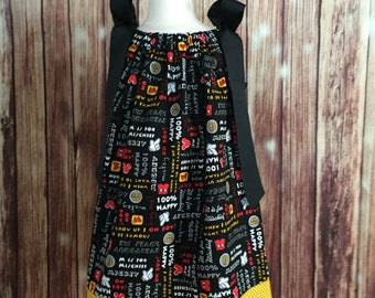 Mickey Mouse Pillowcase dress, Mickey Mouse Body Parts Pillowcase dress, Mickey Body Parts dress, Dress for toddler with Mickey Mouse,