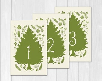 PRINTABLe Table Numbers // Woodsy table numbers // forest // DIY