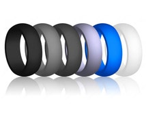 Best Quality Flex-Fit Silicone Rubber Wedding Band Ring Hypoallergenic Cool Athletic Gift for Him Husband Mens Man Jewelry (No Cheesy Logos)