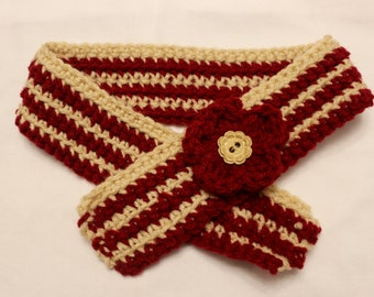 Red & Tan Crocheted Dog Scarf with Flower