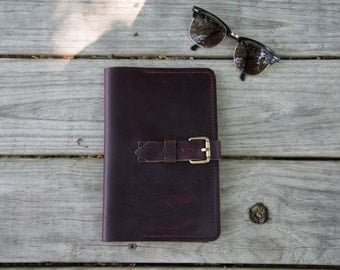 """Large Oxblood Leather Refillable Journal Notebook Cover, Horween Chromexcel,  Moleskine 5""""x8.25"""""""