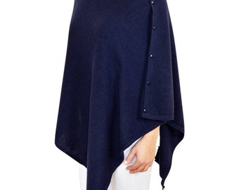 Navy Blue Cashmere Wrap with Buttons Poncho Shawl in Gift Box