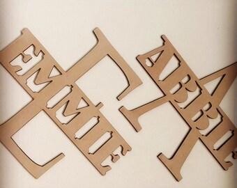 Split Monogram Nursery Decor Baby Shower Gift Boho Door Sign Bedroom Decor Personalised Personalized