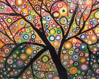 8x10 Acrylic Happy Tree Painting