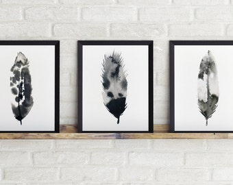 Feathers painting, wall art, inky feather, feathers, hand painted, black and white, picture, illustration, print, perfect gift!