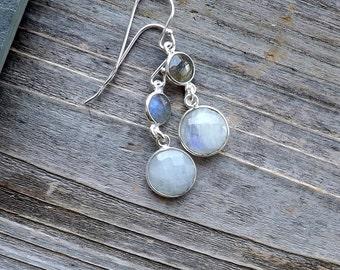 Labradorite moonstone earrings / Small sterling silver dangle labradorite moonstone earrings / Double gemstone earrings