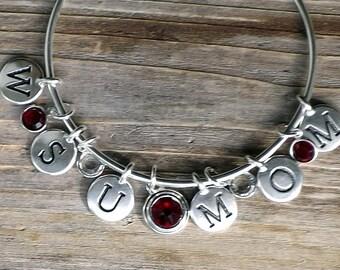 WSU MOM Bangle Bracelet / Washington State University MOM bangle charm bracelet / Cougars Bracelet