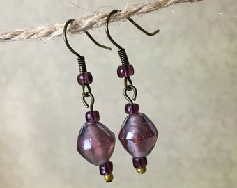 Purple Glass Bead Bronze Earrings