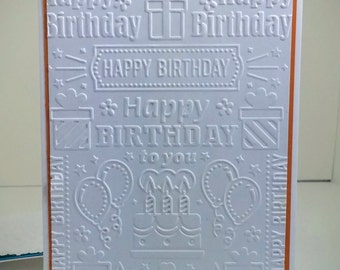 Embossed Happy Birthday Card, set of 4