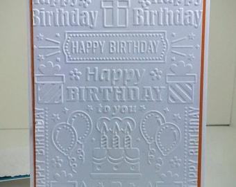 Embossed Happy Birthday Card, set of 4