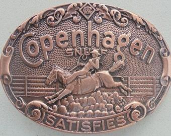 Neat Copenhagen it satisfies cowboy/bronc belt buckle brushed copper color