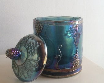 Amethyst Carnival Glass Container with Lid