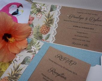 Destination wedding invitation, tropical wedding invitation, beach wedding invitation