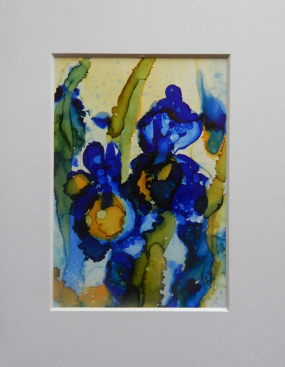 Iris Flower Abstract Alcohol Ink On Yupo Paper 5 X 7